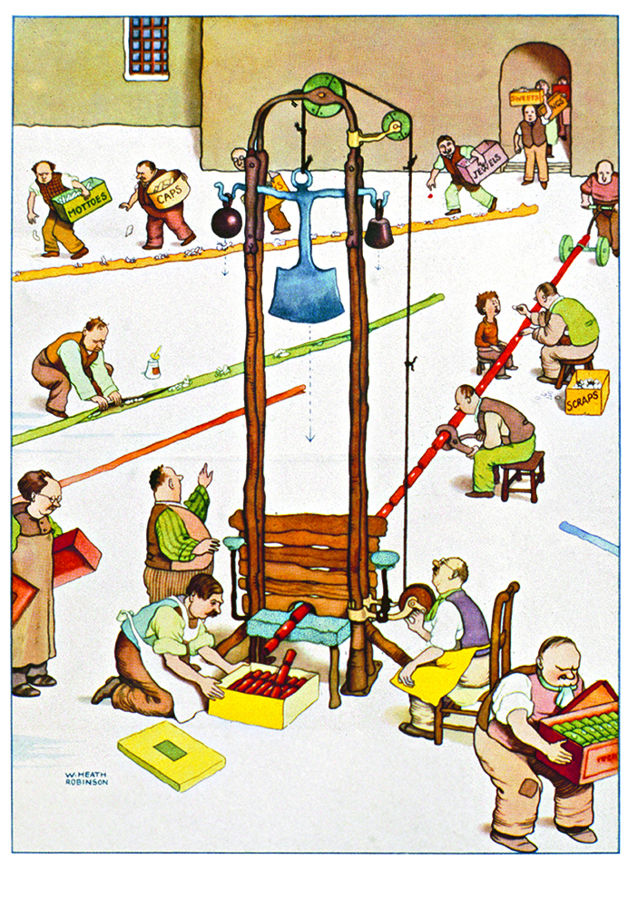 A Heath Robinson illustration in colour of men working on a production line at a Christmas cracker factory, inspiration for our cracking joke competition.