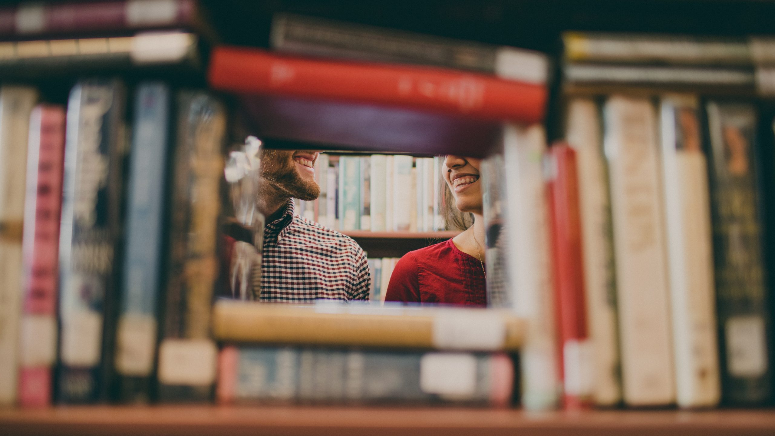 Photo of people in a bookshop.