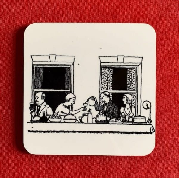 Photograph of a Heath Robinson coaster, illustrated with a black and white line drawing of the Community Supper Party.