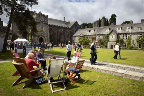 Writers and readers in the garden of Dartington Hall, Devon.