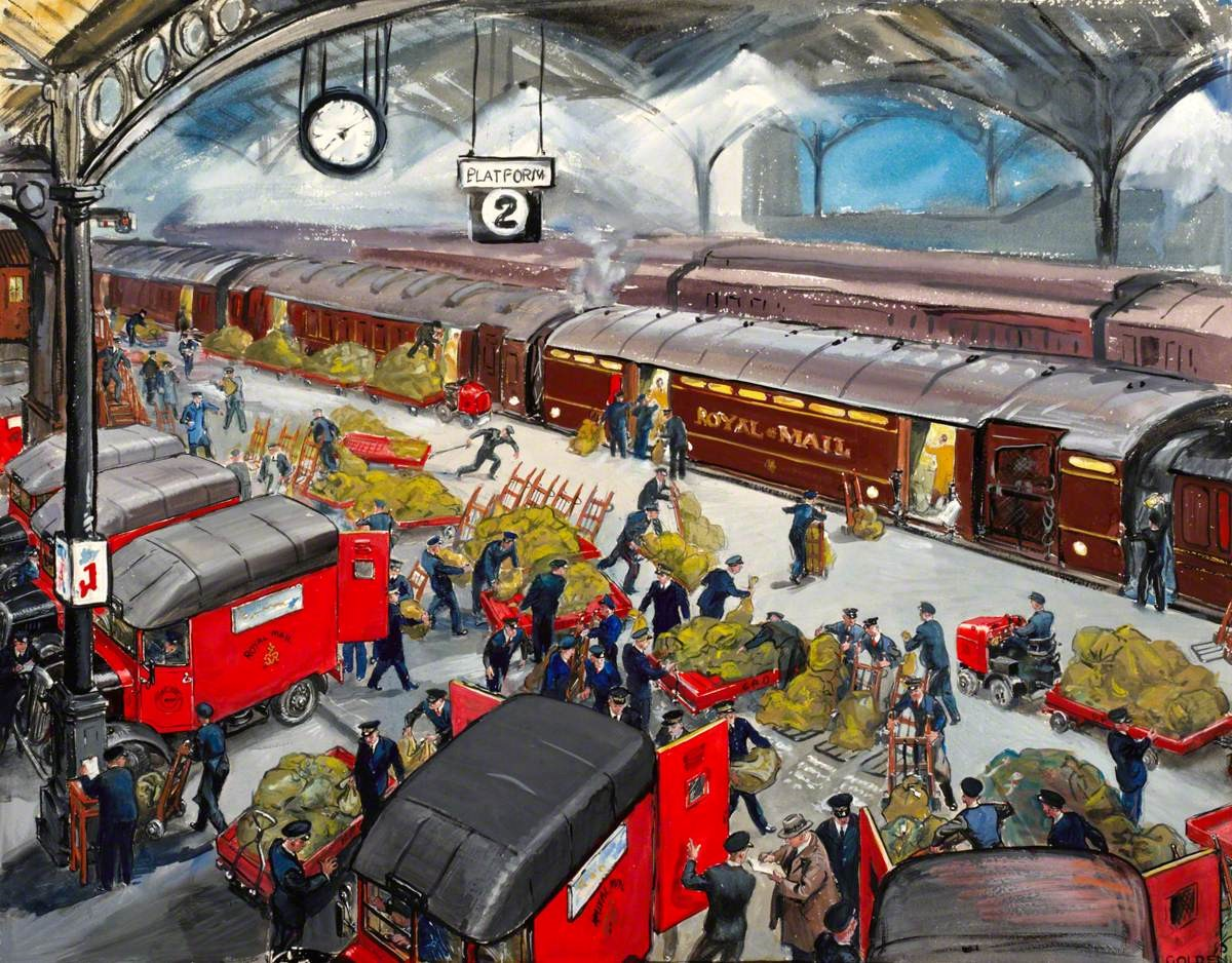 Artwork of Euston Station: Loading the Travelling Post Office (1948).