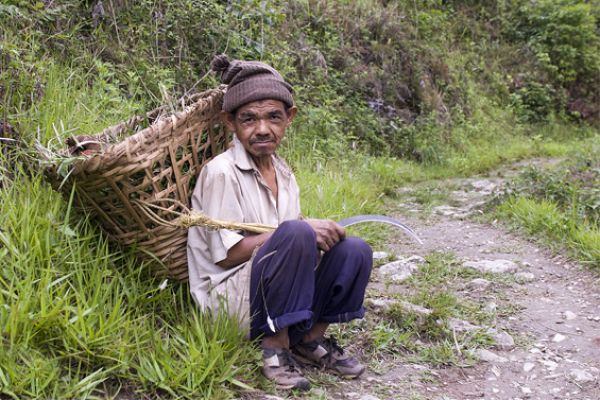 A Farmer Rests From Gathering Crops