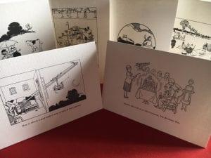Studio shot of six cards
