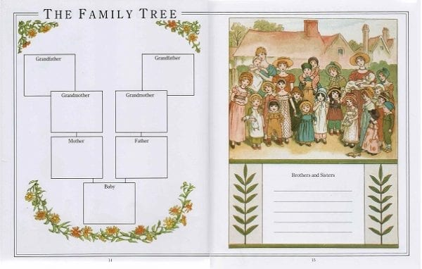 Pages 14 and 15 of The Kate Greenaway Baby Book with a family tree ready to be filled in and a portrait of village families amid garlands of flowers and leaves.