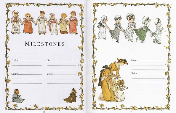 Pages 34 and 35 of The Kate Greenaway Baby Book are illustrated with garlands of daffodils, lines of children, a mother helping her daughter take her first steps and space to write down details of Milestones such as when your child first smiled, laughed, crawled and walked.