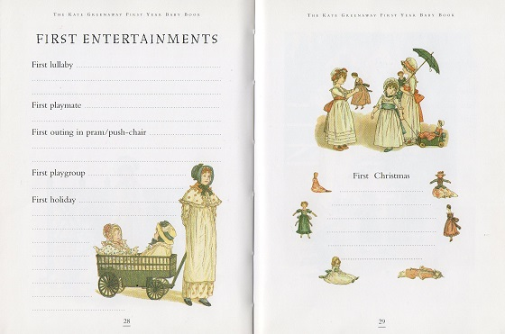 On pages 28 and 29 of The Kate Greenaway First Year Baby Book, decorated with toys and playing children, you can write down the first lullaby you sang, the name of your baby's first playmate and details of the first holiday and first Christmas.