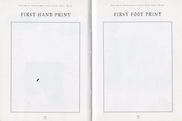 On pages 14 and 15 of The Kate Greenaway First Year Baby Book are spaces to impress the First Hand Print and First Foot Print.