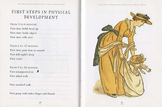 On pages 24 and 25 of The Kate Greenaway First Year Baby Book, illustrated with a mother helping her baby walk, you are encouraged to write down the first time your baby holds an object, sleeps through the night, walks unaided and achieves other First Steps in Physical Development.