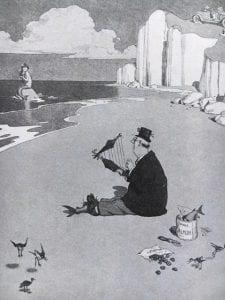 Drawing of beach scene by Heath Robinson.