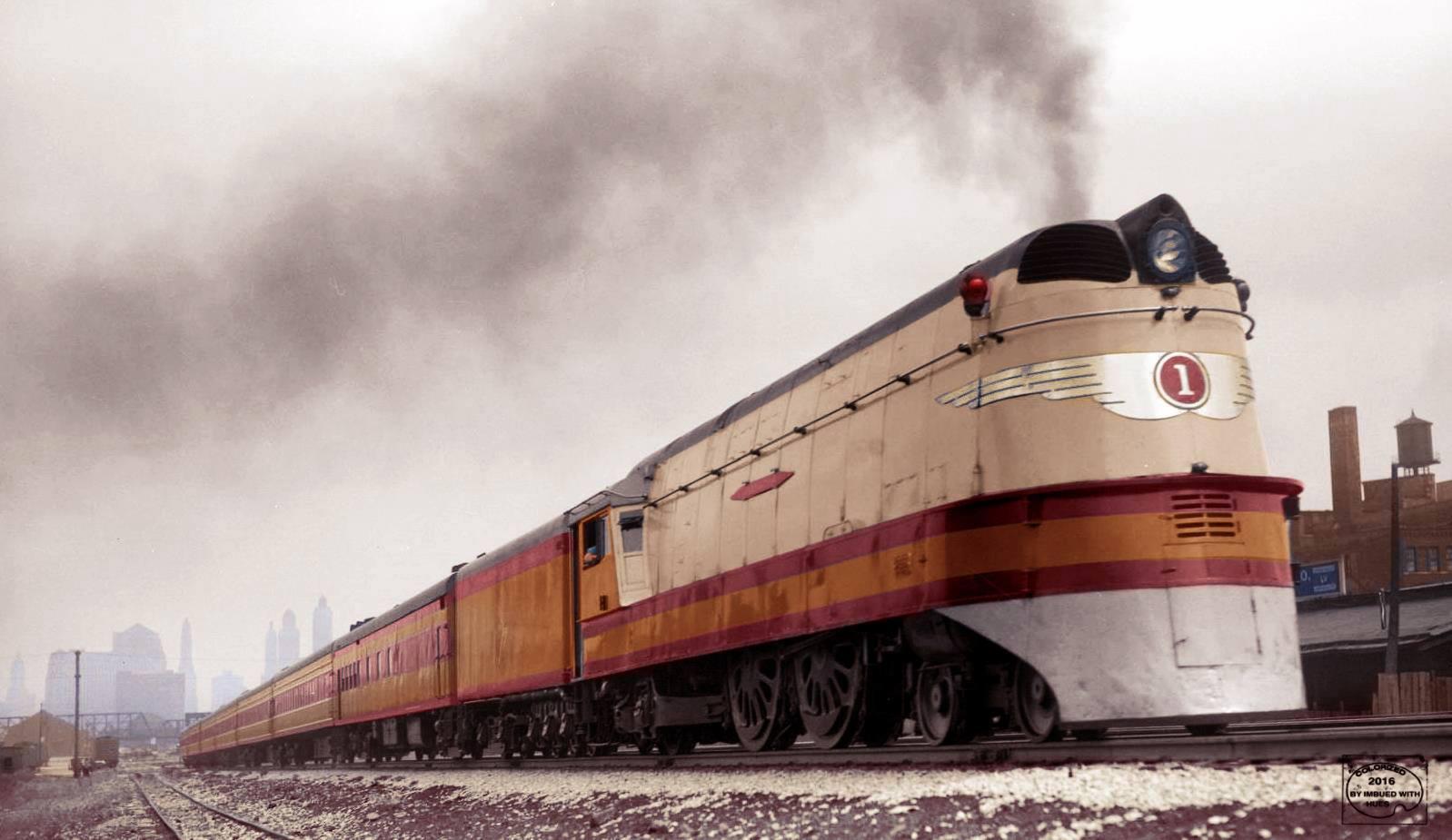 Colour photograph of a Milwaukee Road Class-A Hiawatha 4-4-2 streamlined locomotive, Alco 1935-37; Locomotive Wiki.