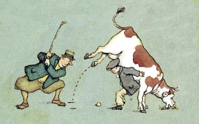 Cow on the golf course, courtesy William Heath Robinson Trust.