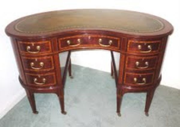 Inlaid mahogany kidney-shaped desk by Wilsons Antiques