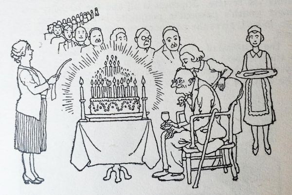 More candles, more kisses, that's the way of the future, as seen by Heath Robinson in How to Run a Communal Home, 1942.