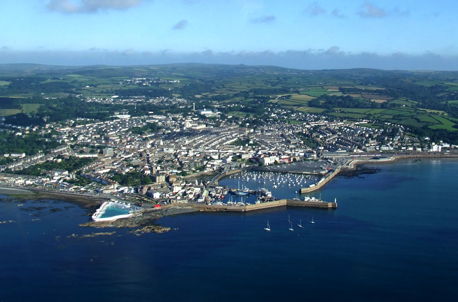 Aerial photograph of Penzance. taken in flight.
