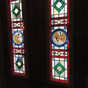 Photo of stained-glass panels.