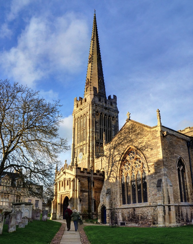 Colour photograph of St Peter's Church in Oundle where Adam Hart-Davis will be talking about Heath Robinson.