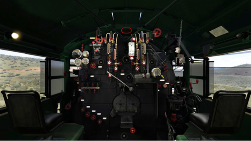 In this colour still from the Train Simulator game the cab of a Union Pacific Big Boy locomotive is laid out in wide-angle format with a full set of interactive controls.