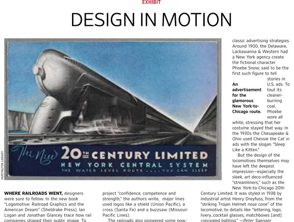 In this excerpt from the Wall Street Journal an article about Logomotive is illustrated by a colour advertisement for The 20th Century Limited.