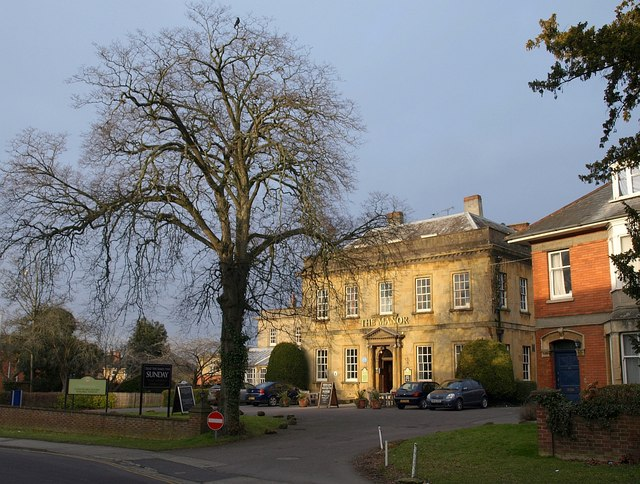 Colour photograph of the Manor Hotel, at the centre of Yeovil's literary scene, with a winter tree in the foreground.